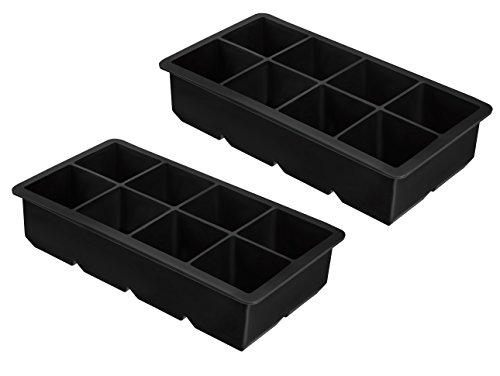 2er Pack XXL Eiswürfelform für je 8 riesige Eiswürfel - 5 x 5 cm Jumbo Eiswürfel - Silikonform ohne BPA -