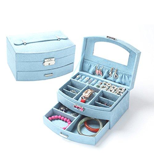 LIU RUOXI Schmuckschatulle aus Holz Damen Portable Schmuckschatulle Samt Fächerförmige Schmuckschatulle mit Schloss (Größe: 20Cm × 15.5Cm × 10Cm),Blue (599 Holz)