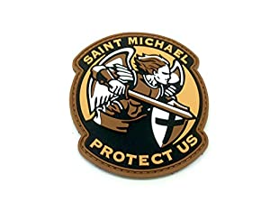 Saint Michael Protect Us Crusader Terre Sombre PVC Airsoft Patch