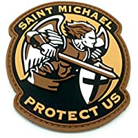 Saint Michael Protect Us Crusader Tierra Oscura PVC Airsoft Velcro Patch