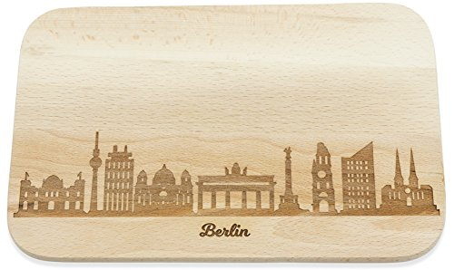 Frühstücksbrettchen Berlin mit Skyline Gravur - Brotzeitbrett & Geschenk für Berlin Stadtverliebte & Fans - ideal auch als Souvenir
