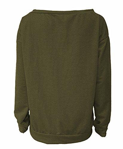 ZIOOER New Arrival Damen Pulli eine Seite Schulterfrei Love Langarm T-Shirt Rundhals Ausschnitt Lose Bluse Hemd Pullover Oversize Sweatshirt Oberteil Tops Armeegrün