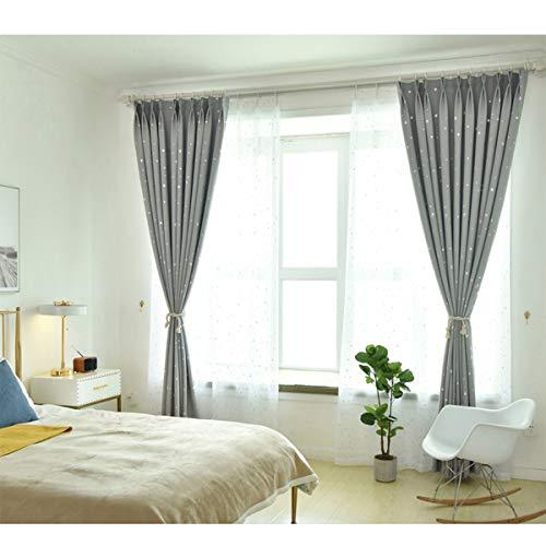 Star print tende tessuto coibentato black out room oscuranti finestra tenda, tende occhielli (2 pannelli 2 tieback tenda) per ragazze boy camera da letto,grey,300x270cm(118x106in)