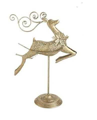 """57.15 cm Chamapagne elegante Glitzer Weihnachten Figur """"Tänzelndes Rentier"""""""