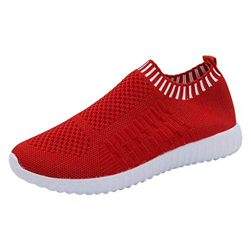 YWLINK Mode Mesh Damen Sneakers Outdoor Mesh Freizeit Sportschuhe Klassisch Atmungsaktive Laufschuhe (B Rot,42 EU)