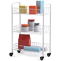 Metaltex Siena Rolling Cart, Plastic Coated, 3 Baskets