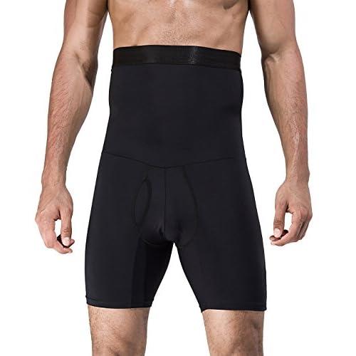41IdmxpibZL. SS500  - NOVECASA Men's High Waist Slimming Shapewear Compression Shorts Hot Sauna Pants Tummy Tuck Body Shaper