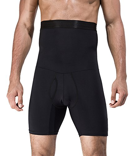 Novecasa dimagrante pantaloncini uomo con vita alta elastico shaperwear a compressione capris controllo della pancia addominale piatto (xl(80-95 kg), nero)