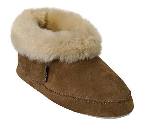 Shepherd emmy, Damen Sneakers, knöchelfrei Hausschuhe mit Leder Sohle 100% Schafsfell Kastanienbraun