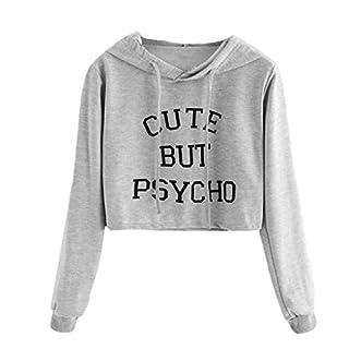 Amcool Damen Langarm-Hoodie Cute But Psycho Brief Drucken Sweatshirt Bluse Top