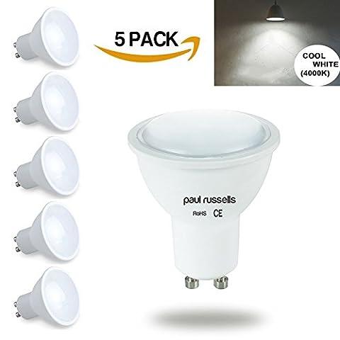 GU10Ampoule LED 5x Paul Russels spot ampoules Blanc froid 4000K, 4W équivalent 40W Ampoule Incandescente/halogène, 100° Angle de faisceau SMD Spot ampoules [Lot de 5]