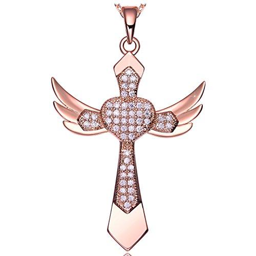 Kette Kreuz Anhänger Zirkonia Halskette Herz Damen Engel Flügel Religiöse Schmuck geschenke für sie frauen Geburtstag jahrestag Valentinstag Weihnachten Muttertag
