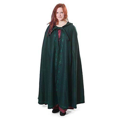 Mittelalter Umhang Damen mit Kapuze und Stickerei Wolle grün - 4