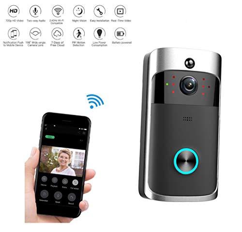Video Citofono, WiFi Campanello Wireless Video 720P HD Campanello visivo, monitoraggio remoto casa intelligente, campanello senza fili per visione notturna a infrarossi App per iOS, Android, Windows