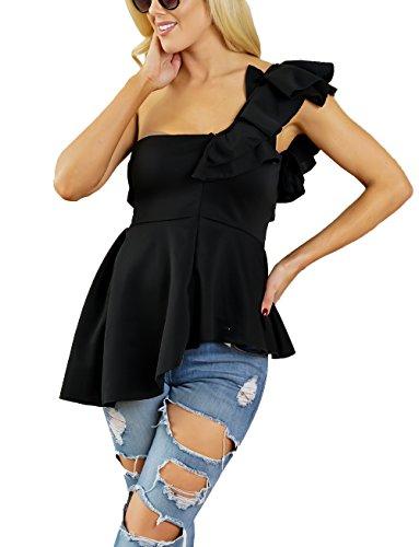 Estivi Donne Maglietta a Fascia Sexy Monospalla Senza Maniche Senza Schienale Bandeau Tops Shirts Moda Tinta Unita Irregolare Volant Bluse T-Shirt Camicie