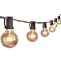 Beauenty Globe Black String Lights Listed Patio Lights for Indoor Outdoor Commercial Decor 25Ft with 25 Clear Bulbs Outdoor String Lights for Party Wedding Garden Backyard Deck Yard Pergola Gazebo