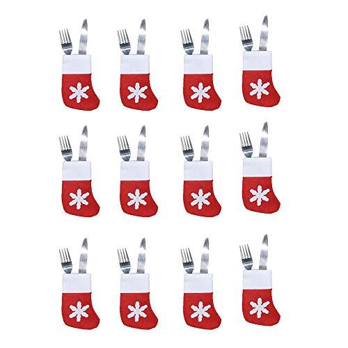 Tavax - portaposate natalizie a forma di calzini natalizi, decorazioni a forma di fiocco di neve, 12 pezzi