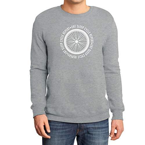 Geschenk für Radfahrer - Eat Sleep Cycle Repeat Sweatshirt Medium Grau -