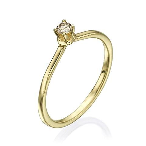 Diamond Musée Bague en or jaune 14K–1,50Gr