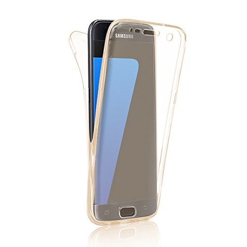 Minto Crystal TPU Full Body 360 ° Hülle iPhone 7 Plus Silikon Case Cover Etui Tasche - transparent Komplett Schutzhülle Gold