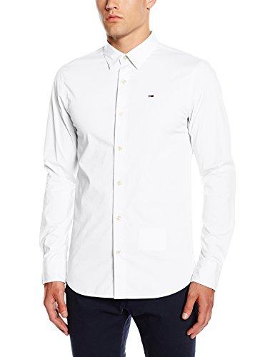 Hilfiger Denim Herren Slim Fit Freizeit Hemd Original Stretch Shirt l/s, Weiß (Classic White 100), Gr. Medium