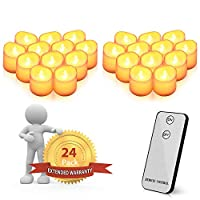 JHuuu LED Candles, Flameless LED Tea Light Electric Candle Lights Remote Control for Weddings, Birthday, Festivals, Halloween, Home, Dinner, Party, Decoration (Batteries Included) (24 PCS)