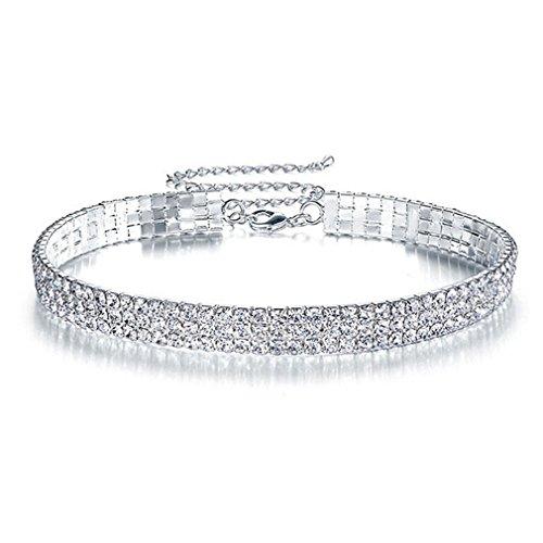 Floweralight 3 Row Stretch Clear Rhinestones Choker Necklace Sparkling Kette Strass Halskette