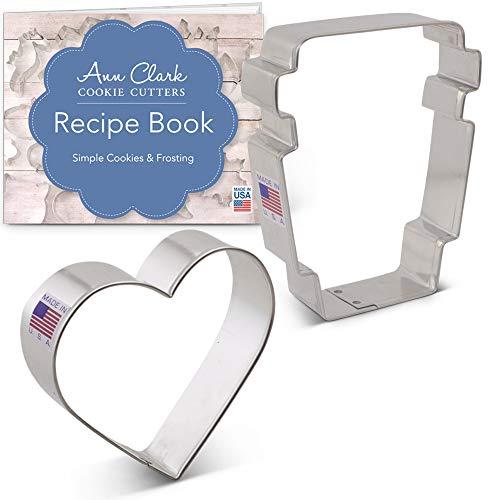 Ann Clark Ausstechformen-Set mit Rezeptheft (englischsprachig), 2-teilig, Latte Tasse und Herz -