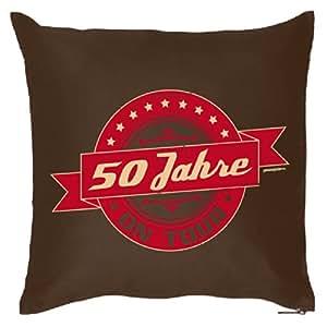 Mega cooles Kopfkissen Dekokissen für das Geburtstagskind - 50 Jahre on Tour - Geburtstagsmotiv Retro /Goodman Design