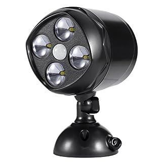 Homgrace Kabellos Scheinwerfer Super Helles 4 LEDs Draußen Sicherheitslicht Wandleuchte mit Bewegungsmelder und Lichtsensor 600Lumen Wasserdicht Außen Spotlight Außenleuchte Schwarz