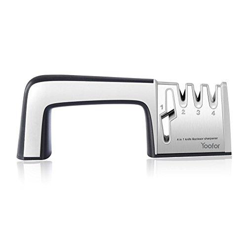 Yoofor - Afilador de Cuchillo de Cocina Profesional Sistema de Afilador de 3 Fases Para Cuchillos y 1 Tijera Afilador Sistema, Color Negro