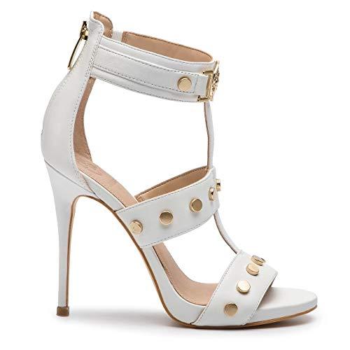 Guess Scarpe Sandalo MOD. Tiffy TC 110 in Pelle Colore Bianco Donna DS19GU26