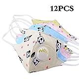12 pezzi cartone animato Carina Maschera facciale anti-polvere PM2.5 per bambini Maschera tessuto non-uso monouso con valvola respiratoria (12 Panda)