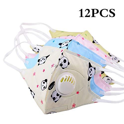Einweg-luftfilter (12 stück Cartoon Nette PM2.5 Anti-staub Mund Gesichtsmaske für Kinder Einweg Vlies Masken mit Atmungsventil (12 Panda))