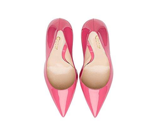 Guoar High Heels Große Größe Damen Spitzschuh Rutsch Büro Damenschuhe Stiletto 10 CM Ballsaal Party Pumps Rosa Lack