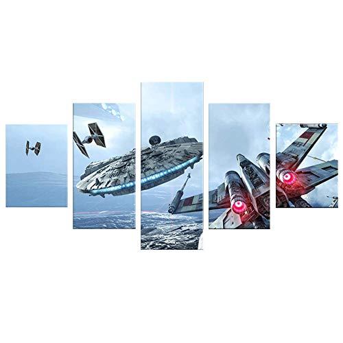 JSBVM Modular Segeltuch HD-Drucke Wandmalerei 5 Stücke Star War Bild Poster Wohnkultur Für Wohnzimmer,A,30×50×2+30×70×2+30×80×1 - 204 Poster