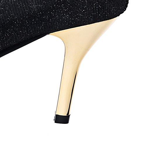VogueZone009 Femme Couleur Unie Matière Souple à Talon Haut Tire Pointu Chaussures Légeres Noir