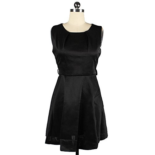 Dabag -2017 Robe de soirée robe rockabilly sans manches pure couleur mince Robe de Mi-longueur robe de courte Swing (XXL, Vert) Noir
