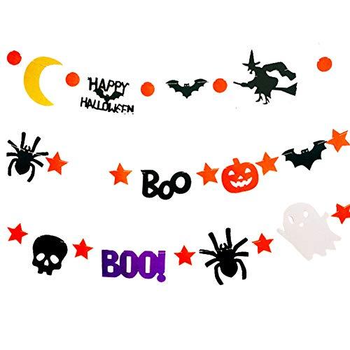 DOXMAL Halloween Banner Dekoration Set Papier Girlande Kette Kürbis Deko Runde Spinne Fledermaus Geist Hexe Schädel Form Halloween Requisiten 3 Pieces