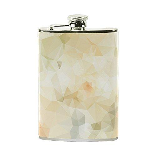 jeansame Personalisierte Hip Drink Fläschchen 8Oz aus Edelstahl für Damen Herren Geometrische Vintage Beige Dreiecke Quadrate -