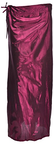 MSM Women's A line Leather Shimmer Petticoat(Mm17-Wine)