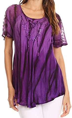 Sakkas 17782 - Siri Ombre Tie Dye Embroidered Sheer Cap Sleeve Relaxed Fit Tunic Top - 2-Purple -
