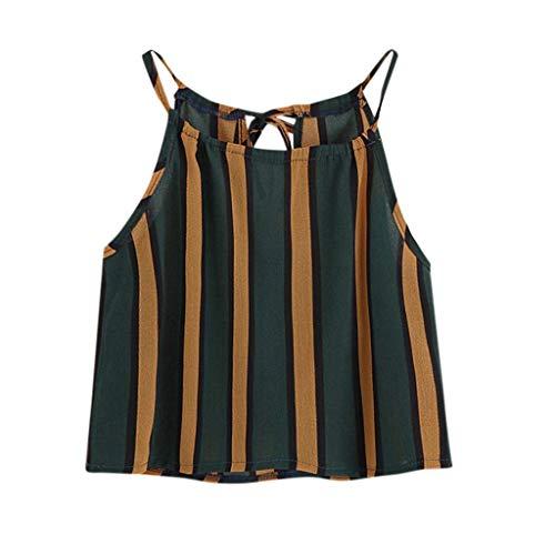 REALIKE Damen Elegant Streifen Schulterfrei Ärmellos Sommer Rundhals Loose Oberteile Hemdbluse T-Shirt Tops