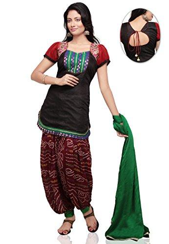 Utsav Fashion Plain Straight Cut Dupion Silk Suit in Black Colour
