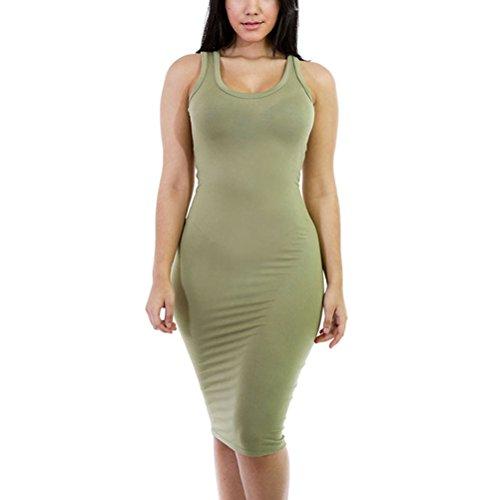 SunIfSnow Damen Schlauch Kleid, Einfarbig Gr. XL, armee-grün