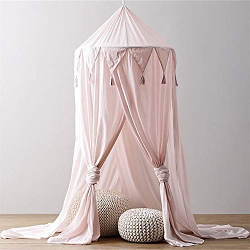 AIMCAE Bett Canopy Zelt Kinder Kuppel Baby Moskitonetz Dreieck Spitze Junge Mädchen Dekoration Haus 4 Türen Pink