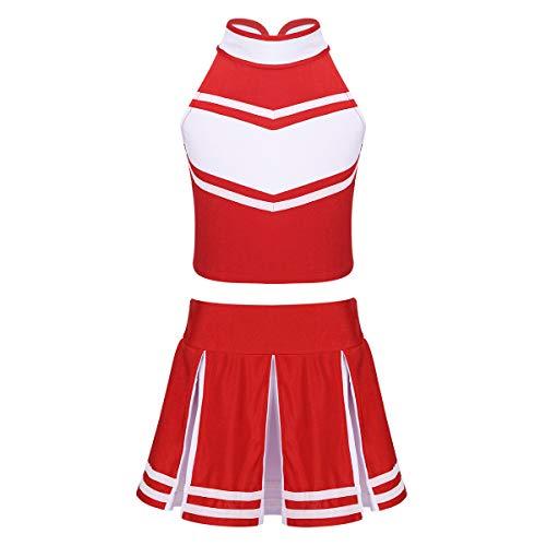 ranrann Mädchen Cheerleaderin Kostüm Kinder Cheerleaderin Uniform Crop Top mit Faltenrock Outfit Set Party Karneval Fasching Halloween Kostüm 6-14 Jahre Rot 116/6 Jahre