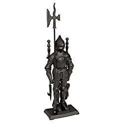 Kaminbesteck Kamingarnitur - Ritter aus schwarzem Gusseisen B/H/T = 22/73/13 cm