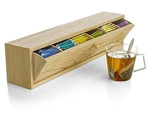 Boîte à thé en bois avec tiroir pivotant