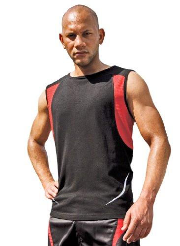 Result ärmelloses Sportshirt Athletic S186X schwarz / rot